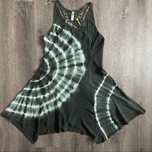 NWT Shoreline Black Tie Dye Cover Up Mini Dress (S